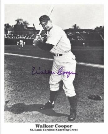 "Walker Cooper Autographed St. Louis Cardinals 8"" x 10"" Photograph (Deceased)  (Unframed)"