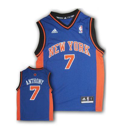 Carmelo Anthony New York Knicks 7 Youth Revolution 30 Replica Adidas NBA Basketball Jersey Road Blue