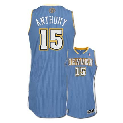 Carmelo Anthony Denver Nuggets 15 2010 Revolution 30 Authentic Adidas NBA Basketball Jersey Road Blue