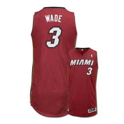 Dwyane Wade Miami Heat #3 Revolution 30 Authentic Adidas NBA Basketball Jersey (Alternate Red / Black) REB-7790E-3B6-KA549