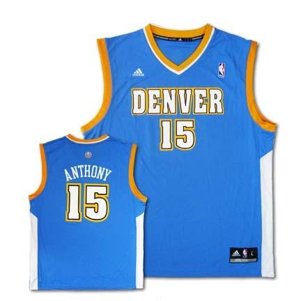 Carmelo Anthony Denver Nuggets 15 2010 Revolution 30 Replica Adidas NBA Basketball Jersey Blue