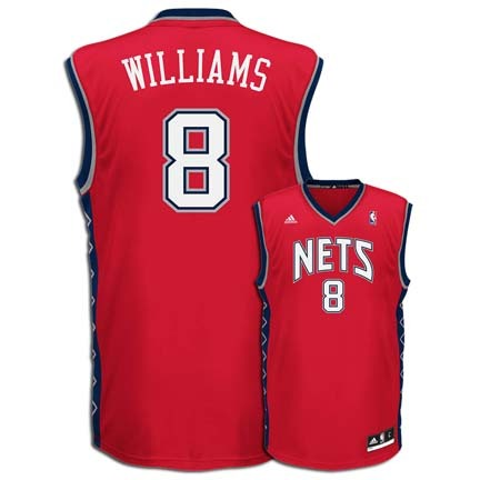 Deron Williams New Jersey Nets #8 Revolution 30 Replica Adidas NBA Basketball Jersey (Road Red)