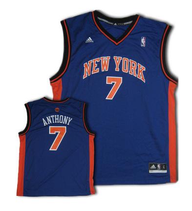 Carmelo Anthony New York Knicks 7 Revolution 30 Replica Adidas NBA Basketball Jersey Road Blue