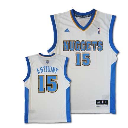 Carmelo Anthony Denver Nuggets 15 2010 Revolution 30 Replica Adidas NBA Basketball Jersey White