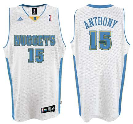 Carmelo Anthony Denver Nuggets 15 Swingman Adidas NBA Basketball Jersey White