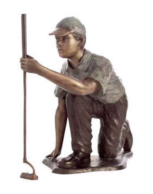 """Reading the Green- Kneeling Golfer Bronze Garden Statue - Approx. 37"""" High"""