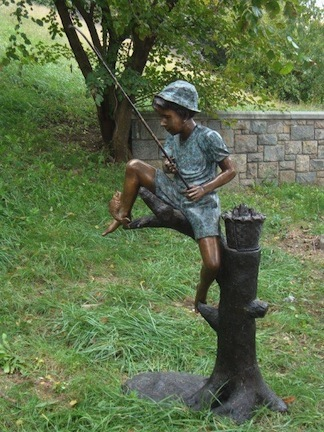 "Catch of the Day (Boy Fishing on Tree) Fountain Bronze Garden Statue - Approx. 34"" High"