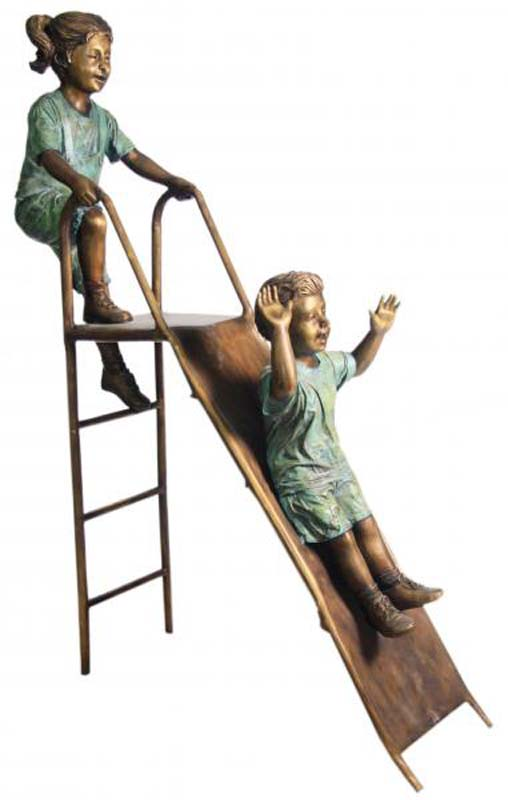 """Play Time (Children Playing on Slide) Limited Edition Bronze Garden Statue - Approx. 75"""" High"""