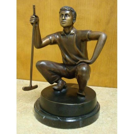 "Putting Contemplation (Tabletop Golfer) Bronze Garden Statue - Approx. 8"" High"