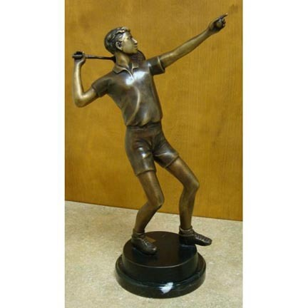 "Ace (Tabletop Tennis Player) Bronze Garden Statue - Approx. 18"" High"