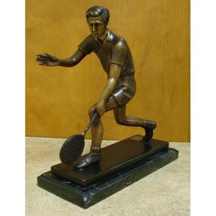 "Volley (Tabletop Tennis Player) Bronze Garden Statue - Approx. 14"" High"