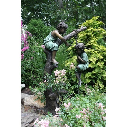 "Huck and Finn (Boys Fishing on Tree) Fountain Bronze Garden Statue - Approx. 59"" High"