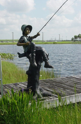 "Fresh Catch (Boy Fishing) Bronze Garden Statue - 70"" High"