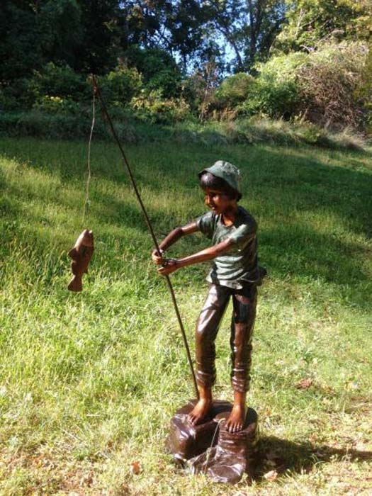 "Boy Gone Fishing Bronze Garden Statue - 81"" High"