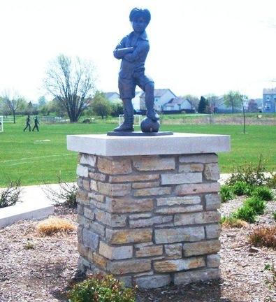 "Scotty - Boy Soccer Player Bronze Garden Statue - 24"" High"