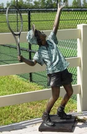 """Boy Tennis Ace Bronze Garden Statue - 62"""" High"""