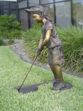 """Future Golf Champ-Girl Bronze Garden Statue - 36"""" High"""