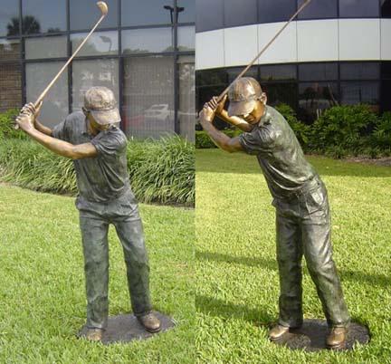 "Golf Pro Bronze Garden Statue - 74"" High"