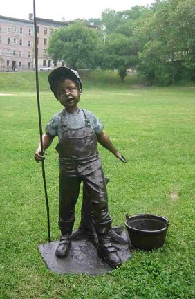 "Farmer Boy Bronze Garden Statue - Approx. 42"" High"