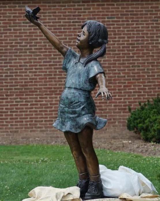 """Fly Away Girl Releasing Bird Bronze Garden Statue - Approx. 51"""" High"""