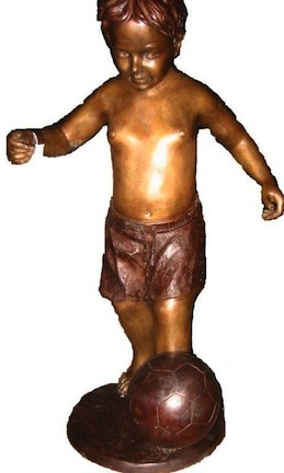 """Little Boy Playing Soccer Bronze Garden Statue - Approx. 36"""" High"""