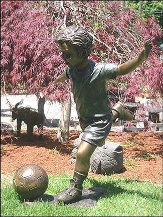 Click here for Soccer Action Boy in Training Bronze Garden Statue... prices