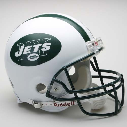 New York Jets NFL Riddell Authentic Pro Line Full Size Football Helmet (Current Logo -1998 On - White With Green Logo)
