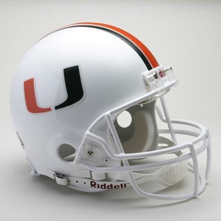Miami Hurricanes NCAA Riddell Pro Line Authentic Full Size Football Helmet From Riddell