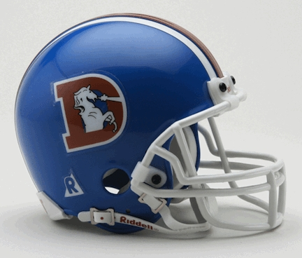 Denver Broncos Throwback NFL Replica Mini Football Helmet From Riddell (Blue with Big D, 1975 - 1996)