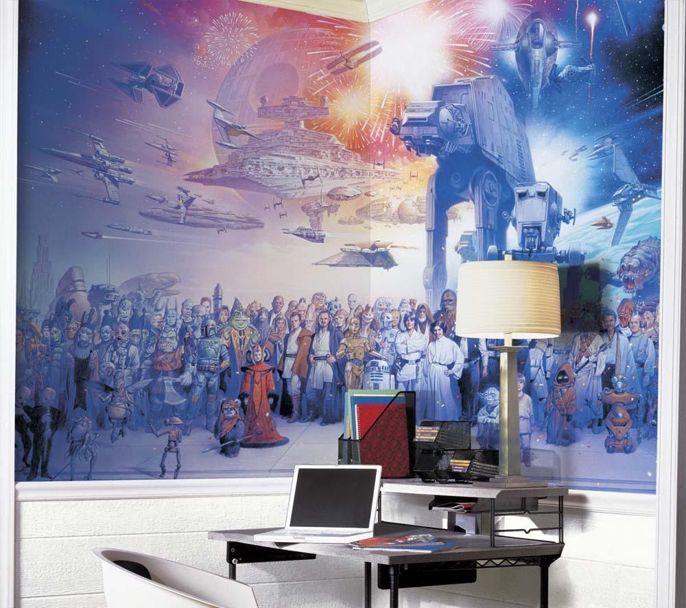 """Star Wars """"""""Saga"""""""" Chair Rail Prepasted 6' x 10.5' Wall Mural"""" RM-JL1230M"""