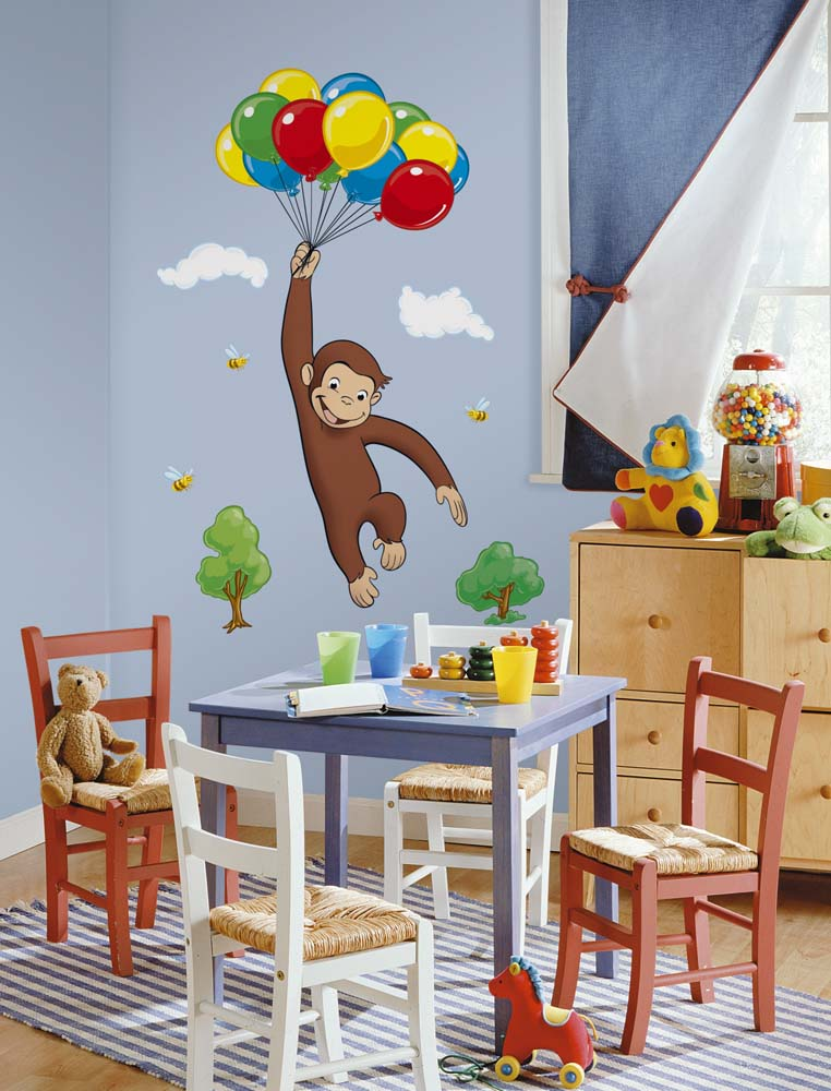 """Curious George 19"""" x 41"""" Peel and Stick Giant Mural"""