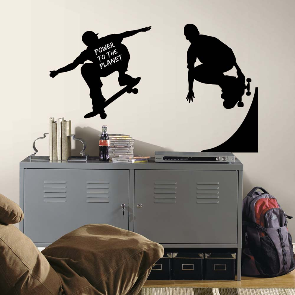 Skaters Chalkboard Peel and Stick Applique / Wall Decal Set