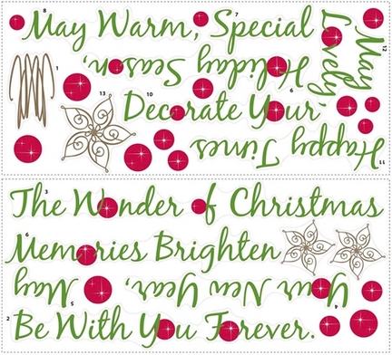 Christmas Tree Quote Peel and Stick Giant Wall Applique / Decal Set RM-RMK1412GM
