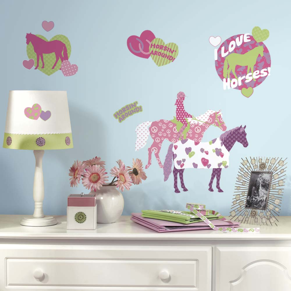 Horse Crazy Peel and Stick Applique / Wall Decal Set RM-RMK1663SCS