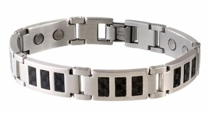 Black Carbon Fiber Stainless Steel Magnetic Bracelet from Sabona