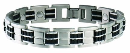Sabona Executive Stainless / Rubber Magnetic Bracelet