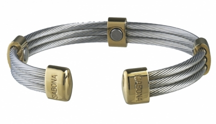 Trio Cable Stainlests Steel / Gold Magnetic Bracelet from Sabona