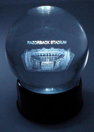 Razorback Stadium (Arkansas Razorbacks) Laser Etched Crystal Ball