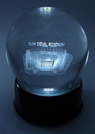 Sun Devils Stadium (Arizona State Sun Devils) Laser Etched Crystal Ball