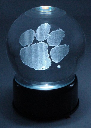 Clemson Tigers Logo Laser Etched Crystal Ball