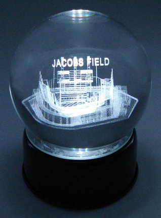 Jacobs Field (Cleveland Indians) Laser Etched Crystal Ball