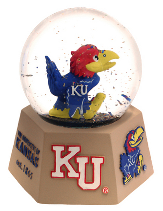 Kansas Jayhawks Mascot Musical Water Globe with Hexagonal Base
