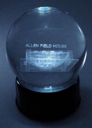 Allen Field House (Kansas Jayhawks) Laser Etched Crystal Ball