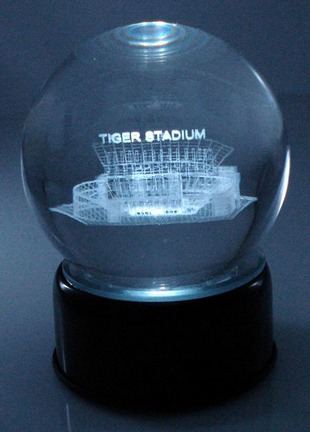 Tiger Stadium (Louisiana State (LSU) Tigers) Laser Etched Crystal Ball
