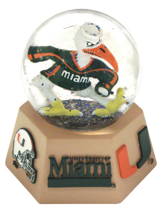 Miami Hurricanes Mascot Musical Water Globe with Hexagonal Base