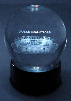 Orange Bowl Stadium (Miami Hurricanes) Etched Crystal Ball
