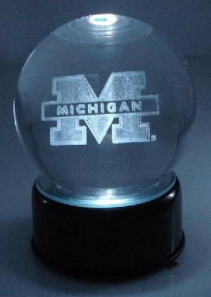 Michigan Wolverines Logo Laser Etched Crystal Ball