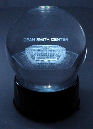 Dean Smith Center (North Carolina Tar Heels) Laser Etched Crystal Ball Music Box