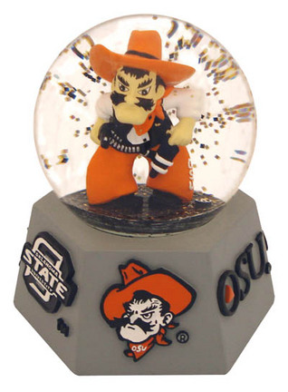 Oklahoma State Cowboys Mascot Musical Water Globe with Hexagonal Base