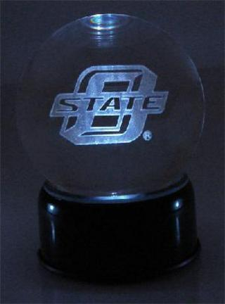 Oklahoma State Cowboys Logo Laser Etched crystal Ball